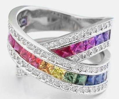 Rainbow Sapphire and Diamond Ring