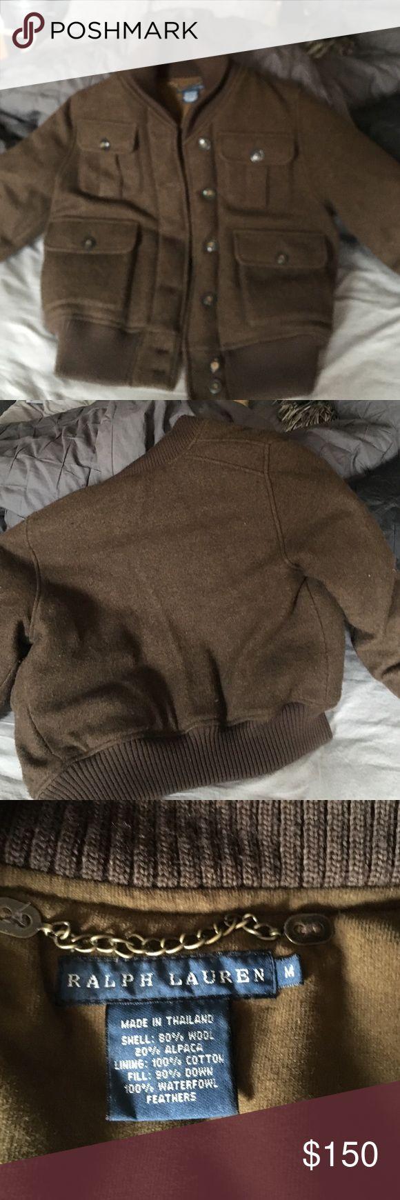 Brown Wool Bomber Jacket 4 Front button pockets 6 Front button closure wool collar Ralph Lauren Jackets & Coats