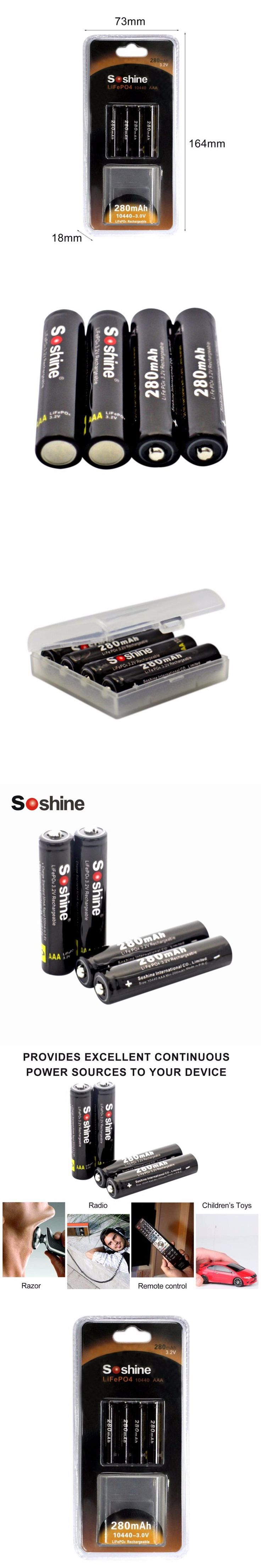 4 pcs/lot Soshine AAA 8.4V 280mAh Rechargeable battery LiFePO4 Cell With 2 Battery Connectors High Energy Density