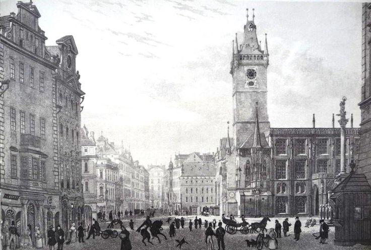 Staroměstská radnice v roce 1852 při pohledu z Celetné ulice. Východní gotické křídlo bylo zbořeno a nahrazeno honosnou stavbou ve slohu novogotickém