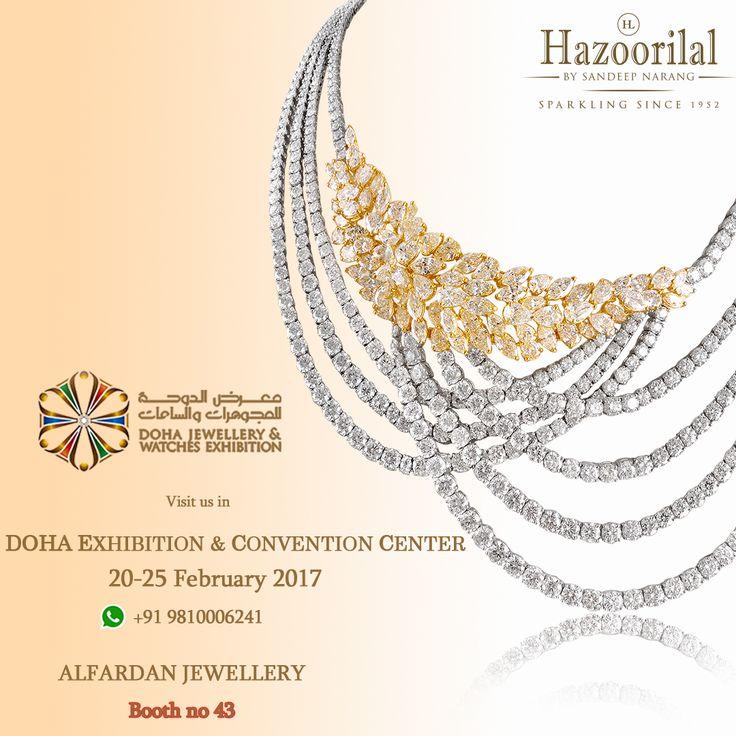 An array of Jewels and Diamonds from the House of #HazoorilalBySandeepNarang at Doha Jewellery & Watches Exhibition.  #HazoorilalBySandeepNarang #HazoorilalEvents #SaveTheDate #DECC #Doha #Qatar #Diamonds #Solitaires #ItcMaurya #DlfEmporio #HazoorilalJewellers #Hazoorilal