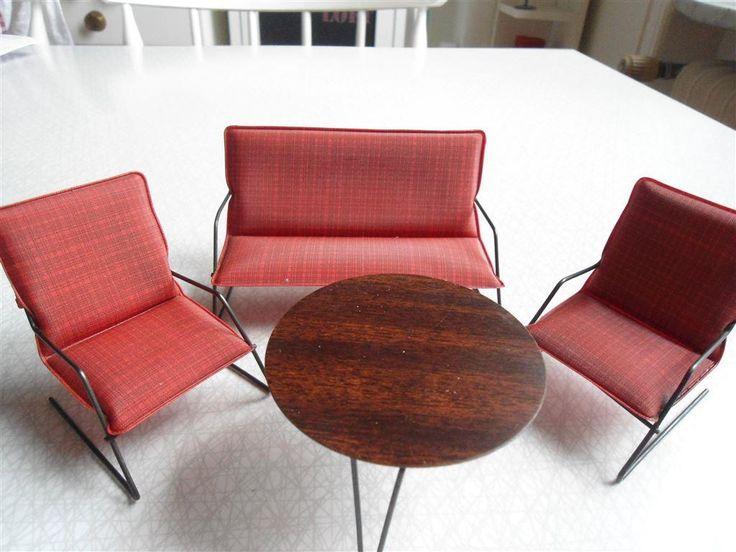 Dockskåpsmöbler Lundby Retro string galon soffa fåtöljer bord soffgrupp