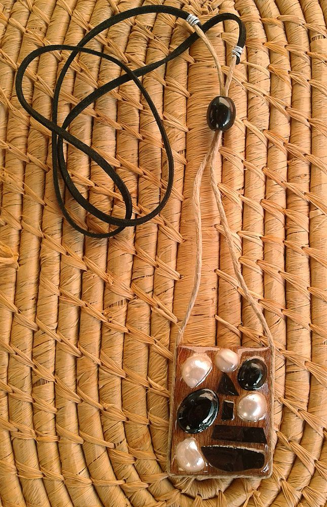 Wooden long necklace with black & white beads. SOLD.