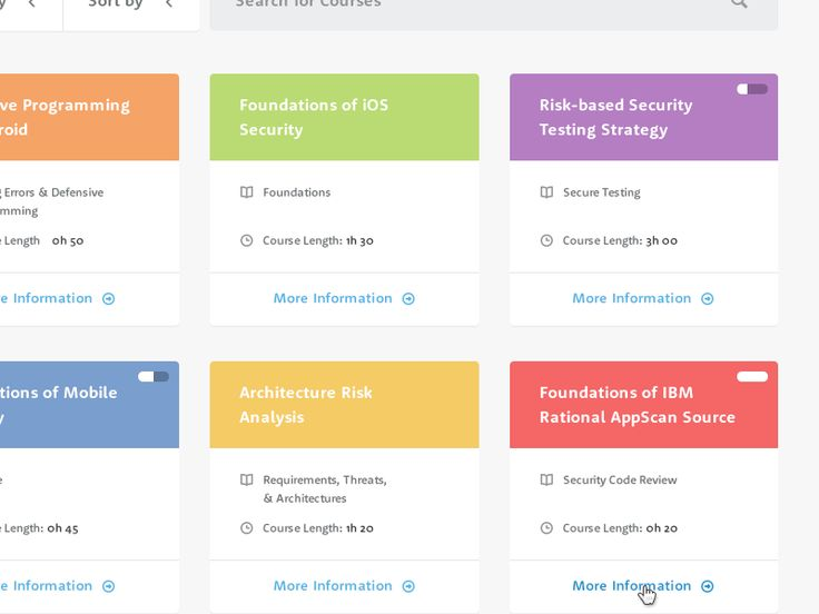 Library of courses for the new Cigital eLearning Portal.  Designed with the @Metropoly team.