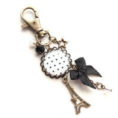 Porte clé cabochon bijoux de sac, rétro vintage pois n°01