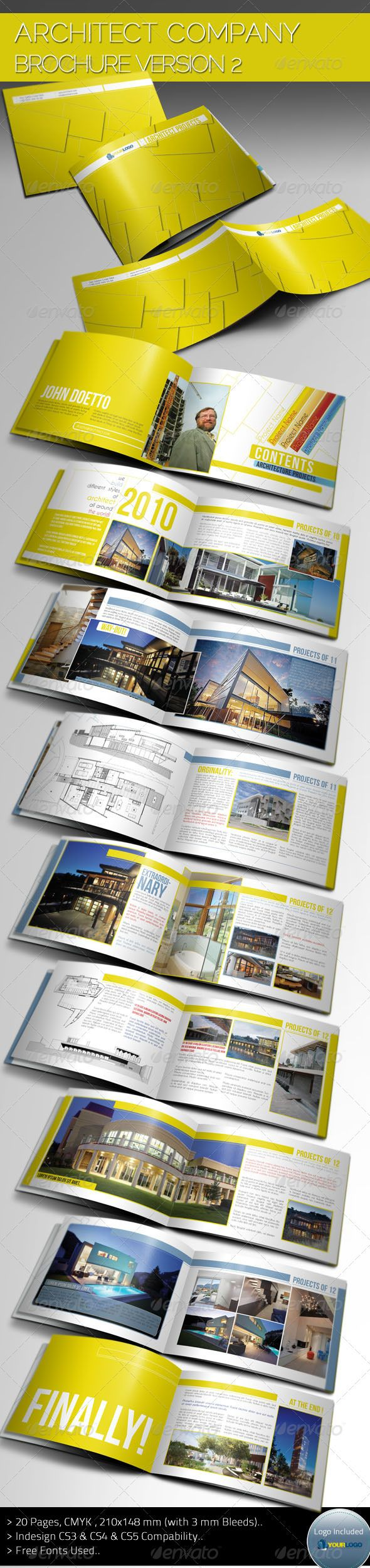 Architecture Brochure Template Ver.II  #GraphicRiver        Description Clean and Cool Architect Portfolio Brochure Template Version 2 for all designers and all companies that need this style.. Summary  20 pages  210×148 mm with 3mm bleed  300 dpi  CMYK   CS3 & CS4 & CS5 Compability Files Included InDesign CS3& CS4 and CS5 files; an example logo psd file , Help and preview pdf files.. Fonts Used You can find download information in help file.All fonts that used are free .. Live preview is…