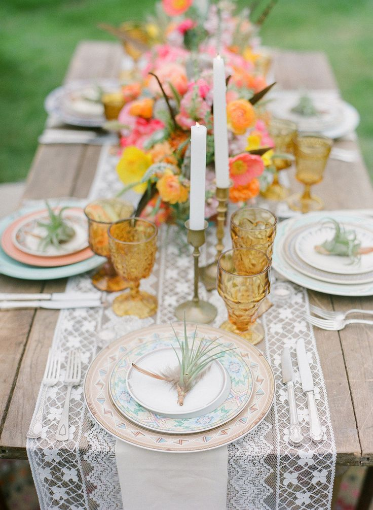 Want to recreate this look? Ask us about our farmhouse tables, our brass candlesticks, our lace runners, our mismatched vintage china, our vintage silverware, and our amber goblets!