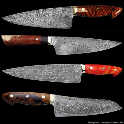 Bob Kramer Knives, 14 month waiting list for one of these, sell for 500 dollars an inch.  Beautiful