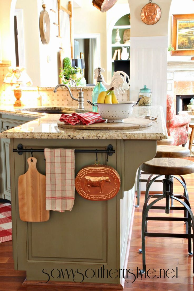 Savvy Southern Style, French country kitchen, vintage enamelware, bread board, French linen, copper