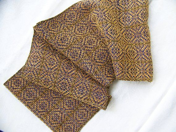 Hand-dyed silk hand-woven Reversible scarf elegant OOAK  #Schusse # Wefts