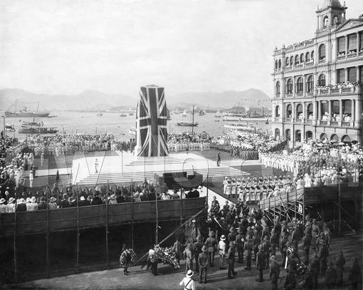 British Hong Kong Cenotaph ceremony, with the Old Hong Kong Club in the background, date unknown.