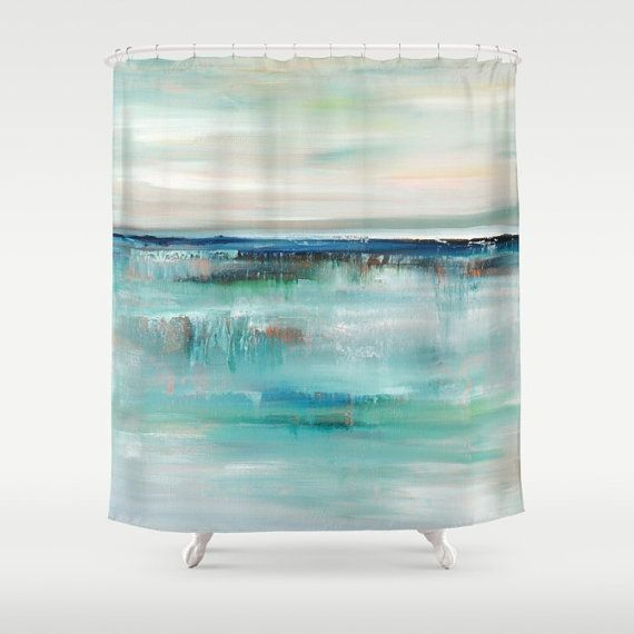 Turquoise Shower Curtain Art Shower Curtain by DesignbyJuliaBars