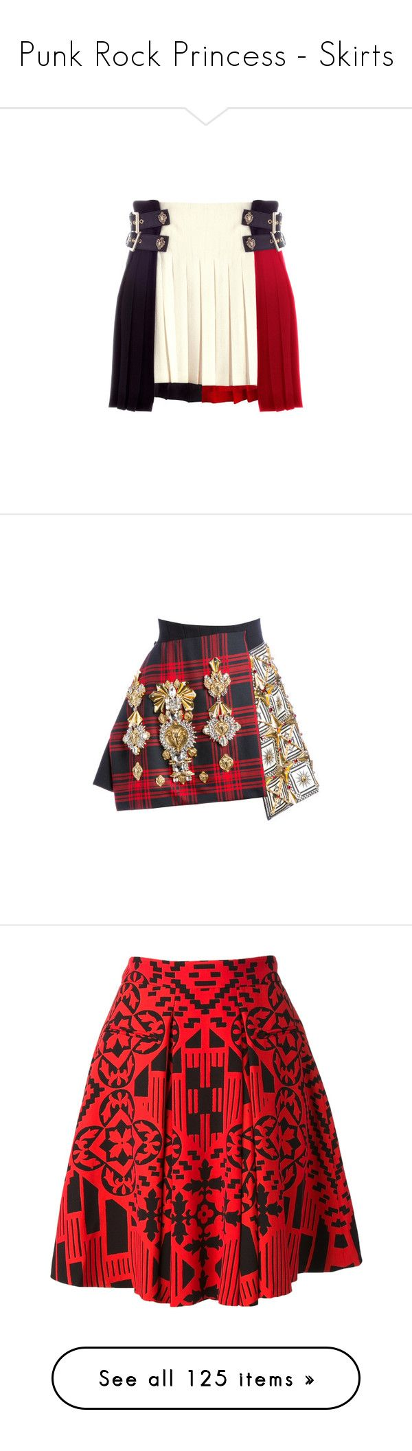 """""""Punk Rock Princess - Skirts"""" by metalheavy ❤ liked on Polyvore featuring skirts, bottoms, faldas, woolen skirt, wool skirt, short skirts, short wool skirt, white crepe skirt, red and red tartan skirt"""