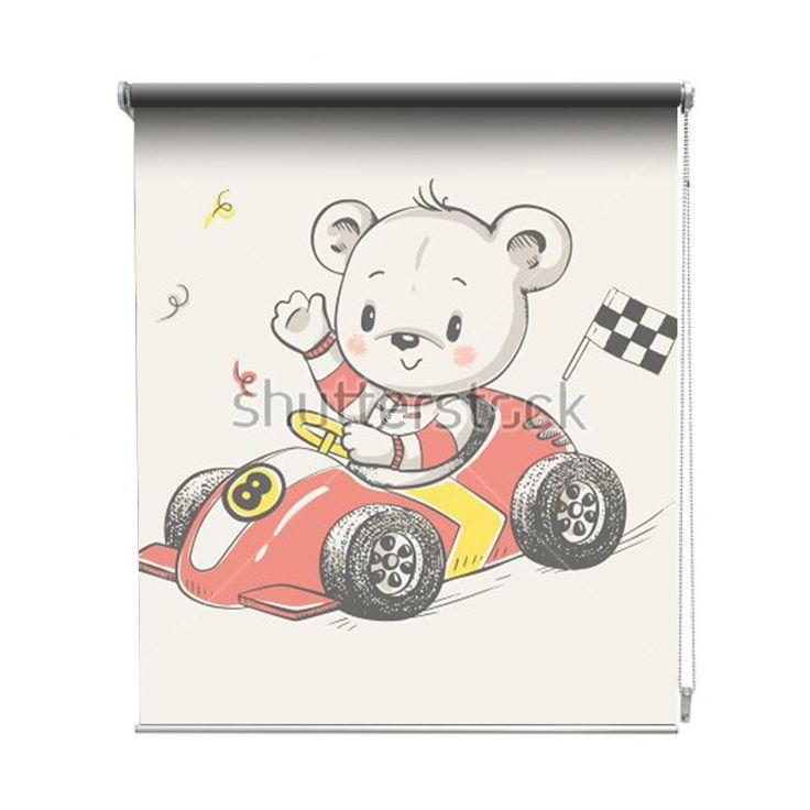 Rolgordijn Kampioen beer | De rolgordijnen van YouPri zijn iets heel bijzonders! Maak keuze uit een verduisterend of een lichtdoorlatend rolgordijn. Inclusief ophangmechanisme voor wand of plafond! #rolgordijn #gordijn #lichtdoorlatend #verduisterend #goedkoop #voordelig #polyester #cartoon #illustratie #babykamer #baby #jongenskamer #race #raceauto #auto #racen #beer #beertje #lief