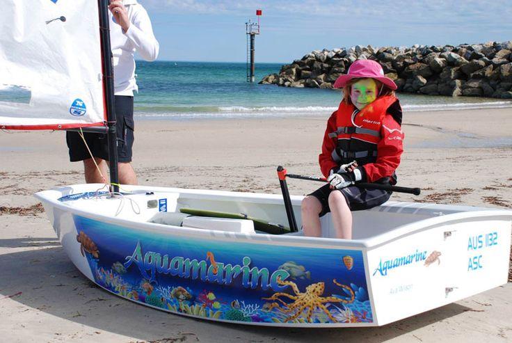 """Opti Sailing Dinghy Graphics """"Aquamarine"""" bu www.optiwraps.com"""