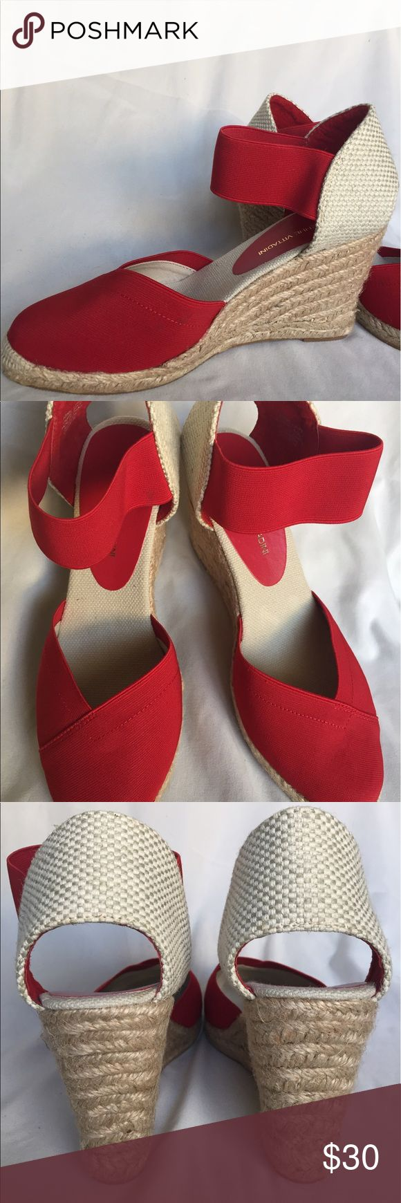 Adrienne Vittadini Wedges Adrienne Vittadini Wedges - Red. Size 8. Stretch Linen. Brand new in box. Never worn. Adrienne Vittadini Shoes Wedges