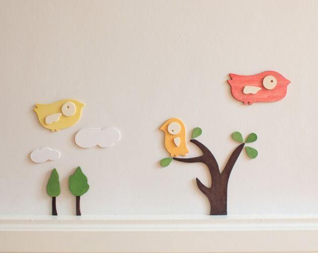 Holz-Wandtattoo Vögel Kinderzimmer 13teilig von lutki - kindermöbel auf DaWanda.com