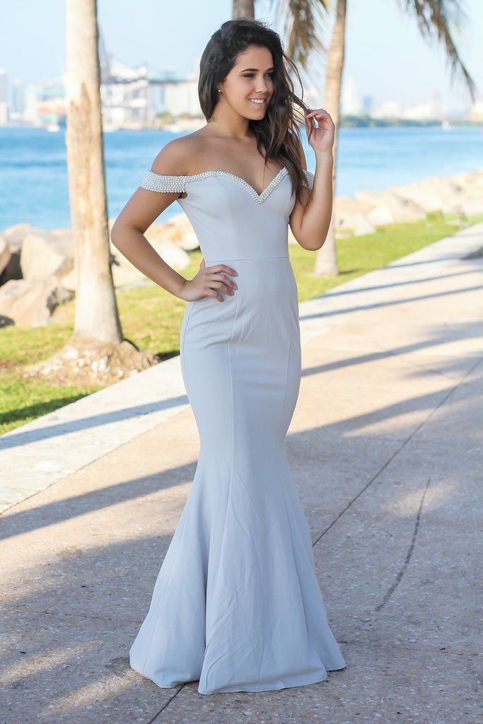2f2d693d5dd1e Light Gray Off Shoulder Maxi Dress with Pearl Detail