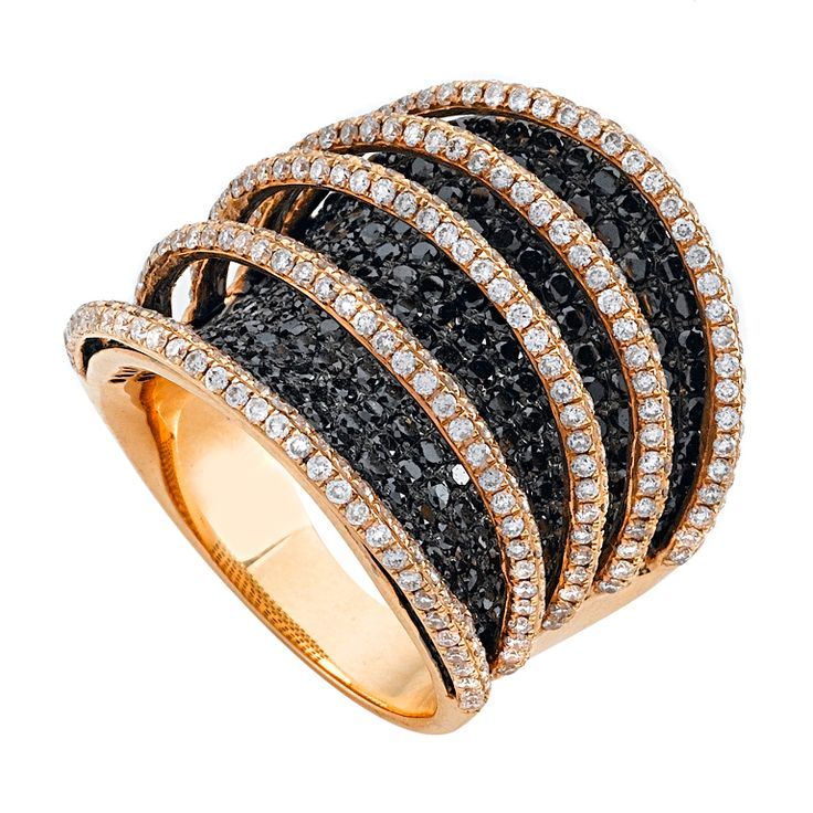 Black and White Diamonds Rose Gold Spiral Band Ring | From a unique collection of vintage cocktail rings at http://www.1stdibs.com/jewelry/rings/cocktail-rings/