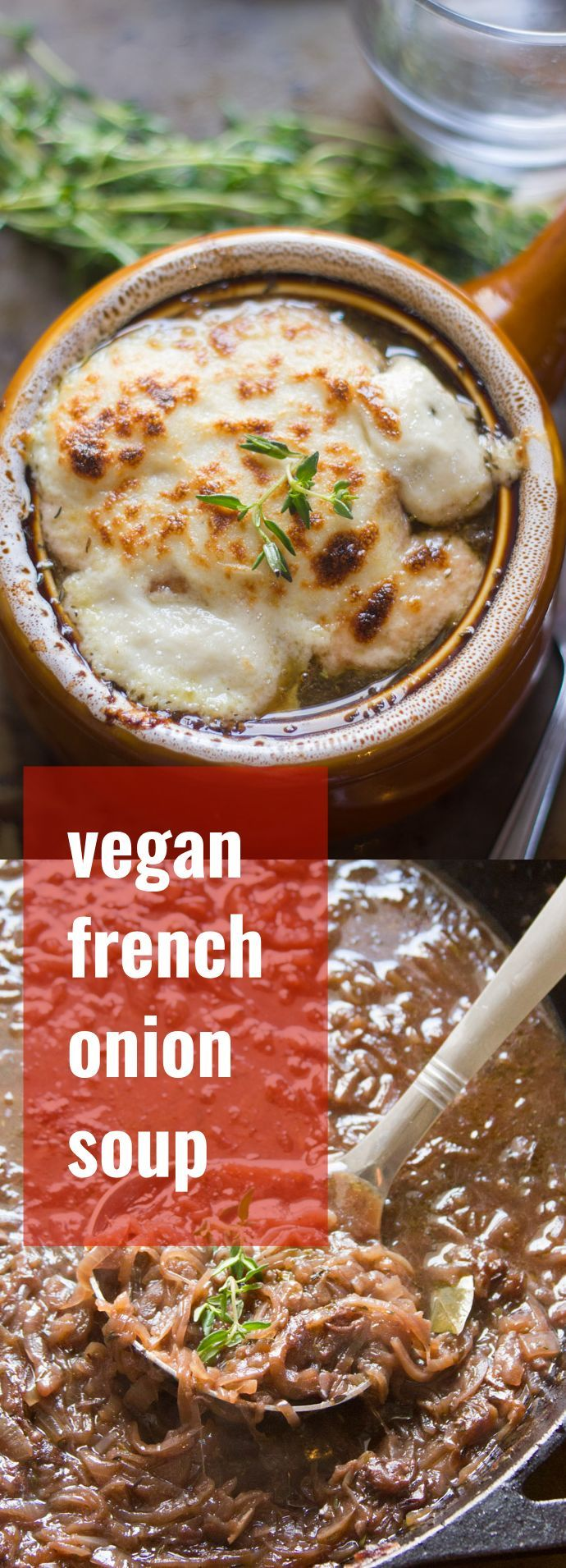Caramelized onions simmered with herbs and red wine go into this savory vegan French onion soup that's served with toasty croutons topped with gooey cashew cheese.