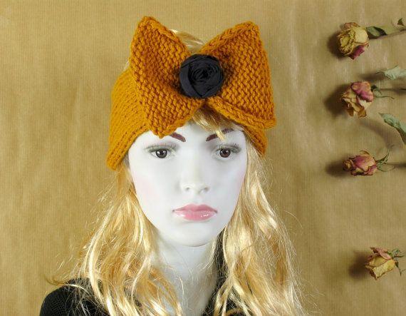 Knitted Bow Headband, Knitted Headband, Oversized Bow Headband, Cute and Cosy Ear Warmer, Bow Headband