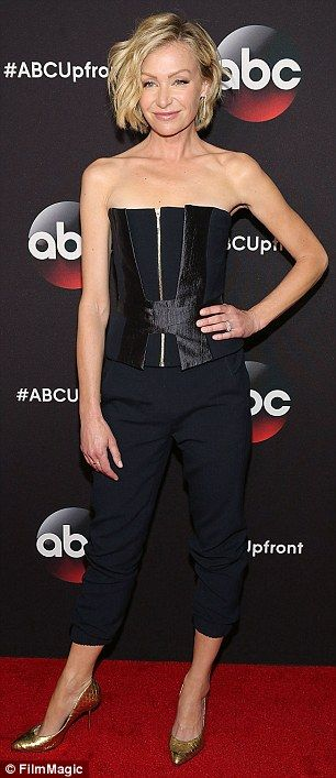 Bring it on: Portia de Rossi - who is joining Scandal - rocked a sexy zipper bustier and c...
