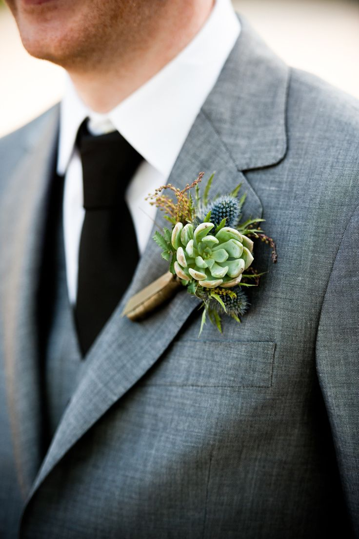 Succulent boutonniere | Photography: W Studios New York - www.wstudiosnewyork.com Read More: http://www.stylemepretty.com/tri-state-weddings/2014/04/24/vintage-bedell-cellars-vineyard-wedding/