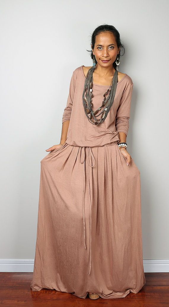 Maxi Dress -  Long Sleeved Nude Maxi dress : Autumn Thrills Collection No.1  (Best Seller)