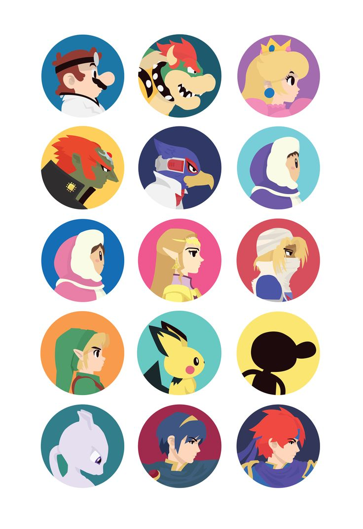 Gaming Portrait Icons - It has the 4 best smashers ever! ZELDA LINK MARTH AND ROY!