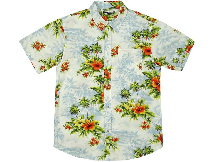 The Quiet Life - Hawaiian Button Down White/Light Blue