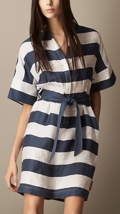 Striped Linen Blend Shirt Dress | Burberry - Make this with long sleeves
