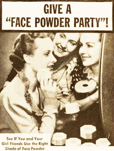 Give a face powder party! Lady Esther Face Powder ad, 1937. #vintage #1930s #makeup #beauty #ads