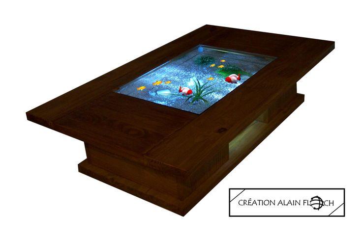 Table basse aquarium terrarium HELIO sans fil