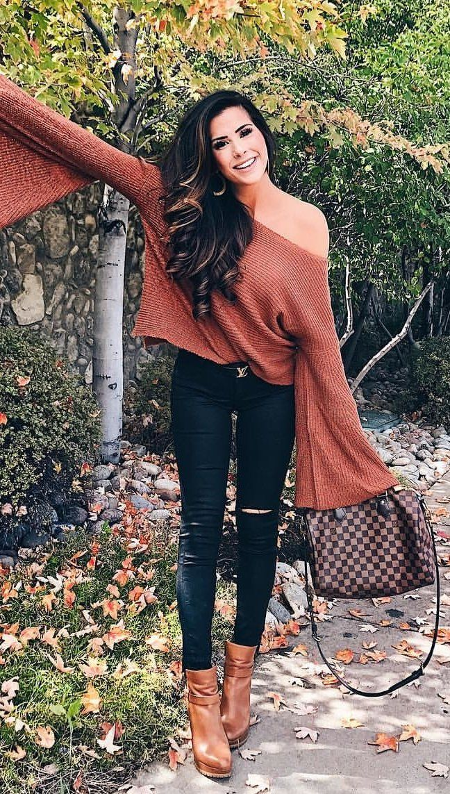 #fall #outfits women's brown off-shoulder long-sleeved top and black denim jeans outfit