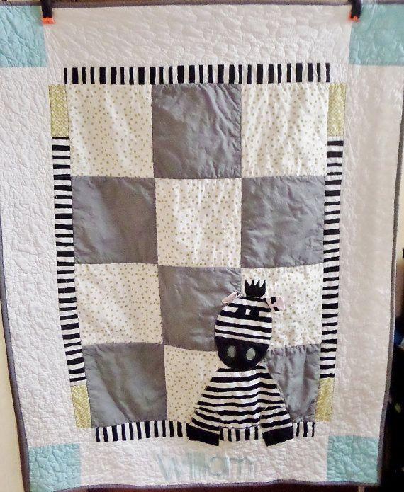 Modern baby quilt  Gender neutral quilt  Zoo by createdbymammy