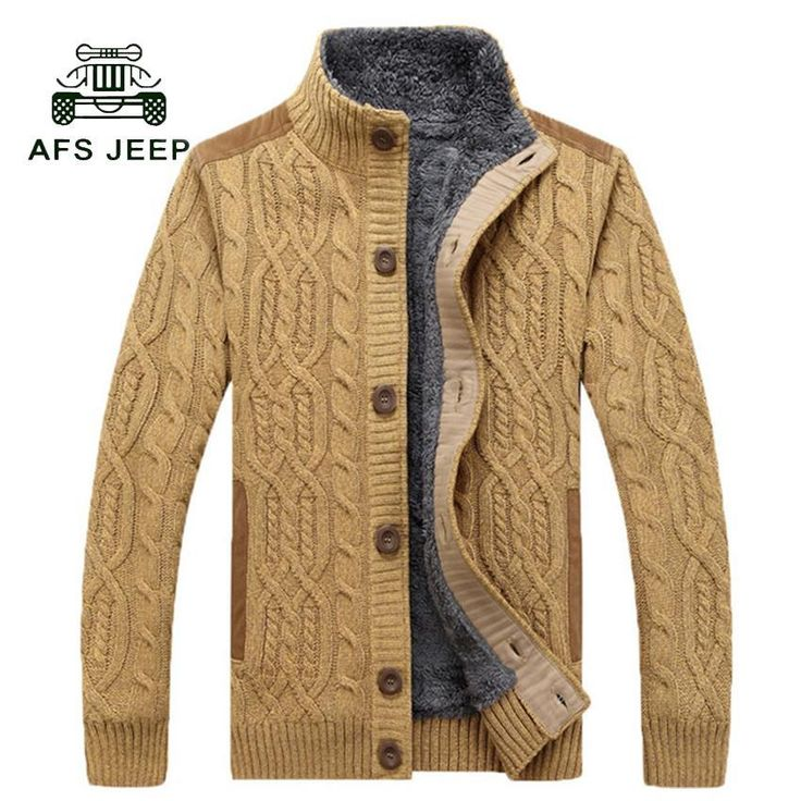 ICYMI: Free Shipping 2017 Warm Thick Velvet Cardigan Sweater Men's Winter Jacket Men St