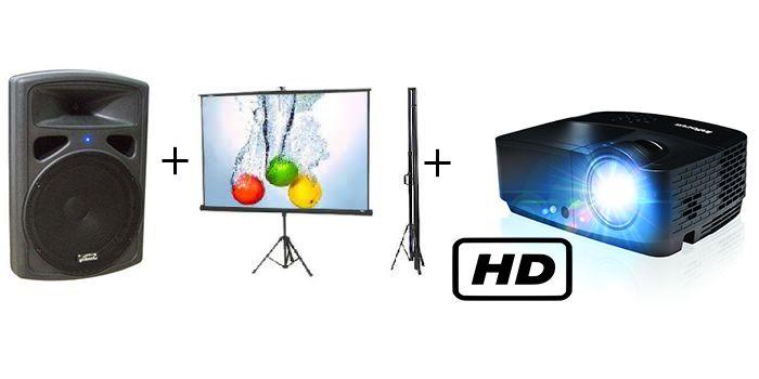 השכרת מקרן HD + מסך הקרנה + רמקול מוגבר