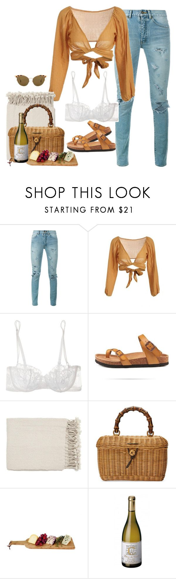 """Picnic Date"" by denise-xii ❤ liked on Polyvore featuring Yves Saint Laurent, La Perla, Surya, Gucci and Ahlem"