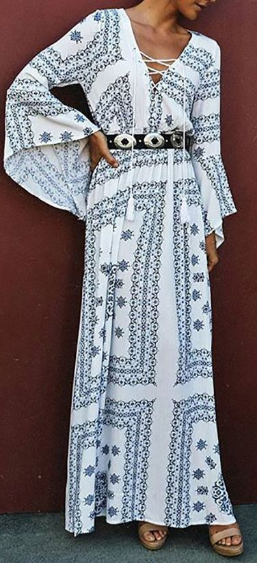 Need a maxi for a Special Occasion? This dress is for you! Long sleeves maxi dress in Geometric print! View more at floryday.com