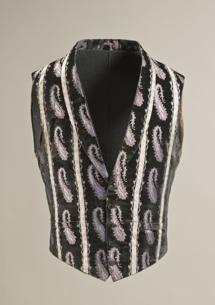 1855, England - Man's Vest - Silk cut and voided velvet on satin foundation with supplementary weft-float patterning