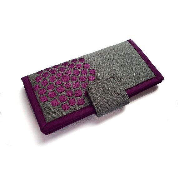 Handmade Womens Wallet - Large wallet - Modern wallet - Card wallet - Purple Flower wallet -  Wallets for Women - Gifts for women