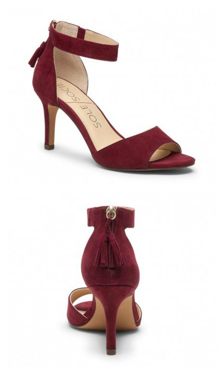 crimson suede mid heel sandals with zipper tassels