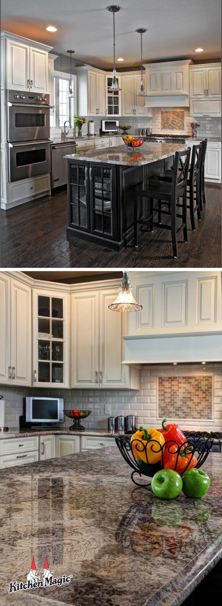 New Classic Raised Panel 10 Cabinets paired with a granite countertop in kashmir white.