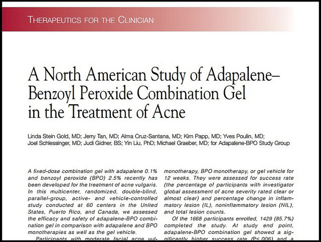 Joel Schlessinger MD aids in a study of adapalene-benzoyl peroxide combination gel for the treatment of acne. http://joelschlessingermd.com/joel-schlessinger-md-aids-in-a-study-of-adapalene-benzoyl-peroxide-combination-gel-for-the-treatment-of-acne/#