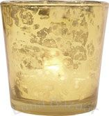 Gold Mercury Glass Votive Candle Holder, lots of options at Luna Bazaar (not rentals, you buy)