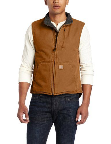 Carhartt Men's Sherpa Lined Sandstone Mock Neck Vest V33,Brown-Perfect for the Outdoor Guy in your life!