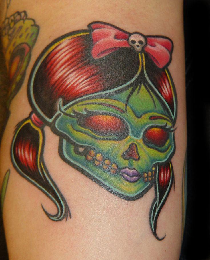 Girly Skull Tattoo by ~slipslopslap on deviantART