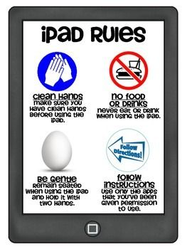 This is a poster of 4 basic iPad Rules to be hung in the classroom.