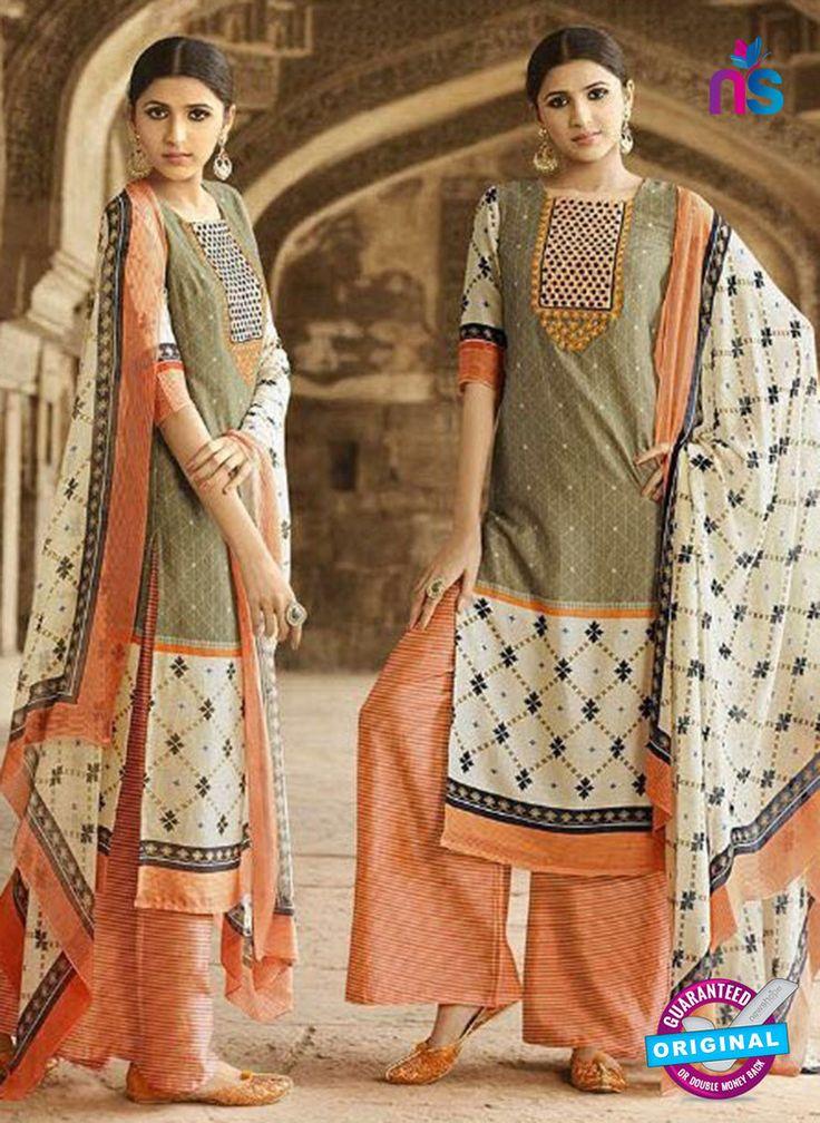 Omtex 1202 B Beige and Orange Lawn Cotton Plazzo Suit #omtexsalwarsuitsonline #designeromtexsalwarsuits