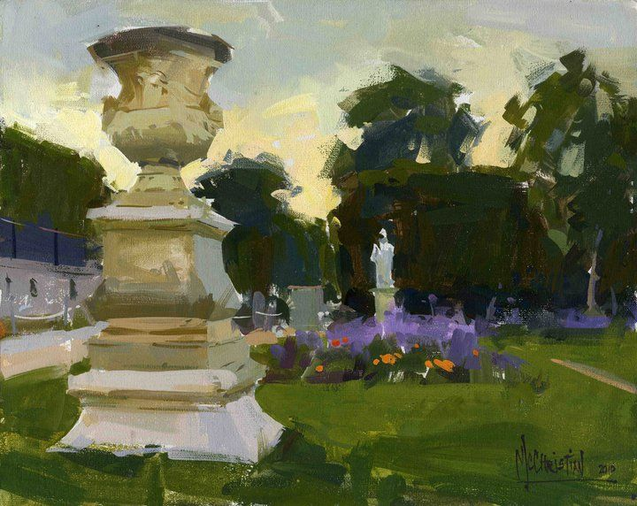 "Jennifer McChristian  8x10"" gouache plein air painting I did while in Paris this past September. 'Fading Light in the Gardens"